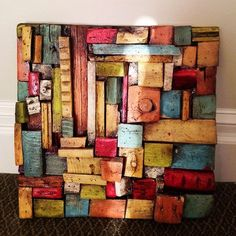 """An Atelier Treme Wooden Quilt. The artist's historic home in the Faubourg Treme area was damaged by Katrina, and he creates these """"wooden quilts"""" from reclaimed wood resulted from gutting his home. Scrap Wood Art, Reclaimed Wood Art, Wooden Wall Art, Wood Wall, Wood Mosaic, Wood Scraps, Driftwood Crafts, Pallet Art, Wood Creations"""