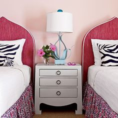Dusty pink walls and fun curvy lamp with a great trendy moroccan style headboard for #teengirlsroom