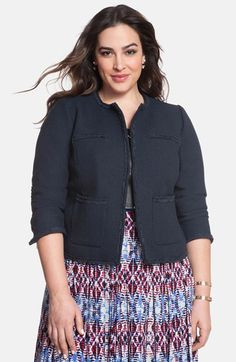 ELOQUII Collarless Tweed Jacket (Plus Size) available at #Nordstrom