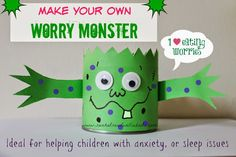 Sun Hats & Wellie Boots: Make your own Worry Monster - ideal for helping kids wi. - - Sun Hats & Wellie Boots: Make your own Worry Monster – ideal for helping kids with anxiety or sleep issues Play Therapy Activities, Coping Skills Activities, Anxiety Activities, Monster Activities, Counseling Activities, Mindfulness Activities, Fun Activities, School Counseling, Feelings Activities