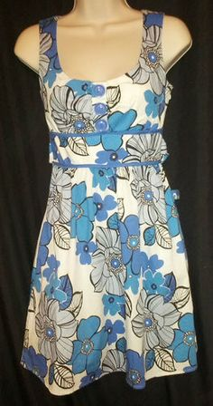 Ruby Rox White Blue Foral Print Sundress Tank Dress Juniors/Misses Size 3 $19.99