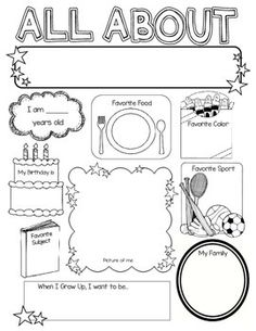 Use this poster to get to know your students! Learn their favorite color, favorite food, favorite sport, favorite subject in school, what they want to be when they grow up, etc. This blank poster allows students to be creative and color/decorate however
