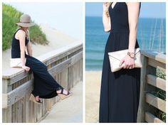 Peekaboo: navy blue LOFT maxi dress, brown floppy straw hat, gold Elaine Turner clutch, navy Stuart Weitzman wedge sandals