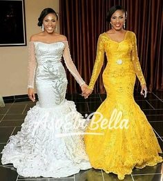 Dynamic Duo 👭👑👑 Lovely Bride & her Maid of Honour/Twin🌟 Dresses by Yellow Lace Dresses, African Lace Dresses, African Wedding Dress, African Fashion Dresses, Nigerian Fashion, African Outfits, African Weddings, African Clothes, African Traditional Wedding