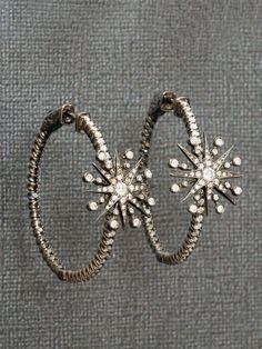 Colette 18k Diamond Star Hoop Earrings at London Jewelers!