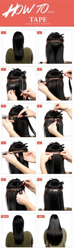 Step by step guide - Sådan påsætter du tape hair extensions - se mere på http://www.myextensions.dk/da/paasaetning-af-tape-baner