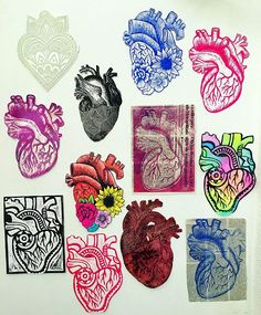 The human heart in various styles & media