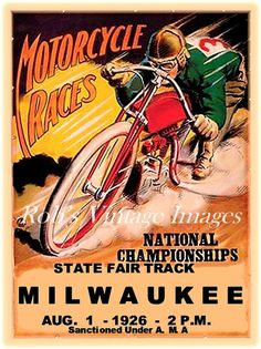 Vintage Motorcycle Race Poster Milwaukee State Fair Park 1926 Art 8 x 11.5""