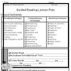 A Guided Reading Observation Template  Guided Reading