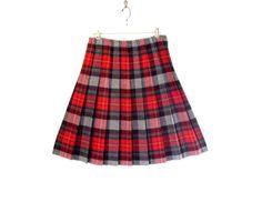 Vintage Tartan Red Plaid Pleated Wool School girl by bigbangzero, $34.00