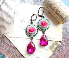 floral raspberry pink teardrop jewel earrings. retro aqua blue, retro, cocktail earrings, rockabilly, pinup, glam, sparkly, fuchsia by FabFleaMarket on Etsy