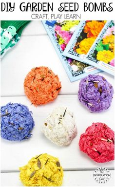 Have you ever made Garden Seed Bombs? It's a fun activity to do with kids and a great tutroial on how to make seed bombs to grow flowers and plants Fun Activities To Do, Spring Activities, Nature Activities, Steam Activities, Garden Projects, Projects For Kids, Garden Tips, Crafts To Do, Arts And Crafts
