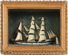 Late 19th C. Folk Art Masted Ship Diorama