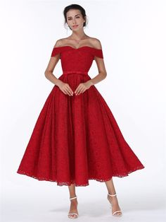 Elegant Red Lace Up Wedding Party Bridesmaid Dress - Uniqistic.com