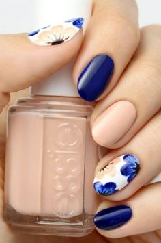 Bold blue spring nails.