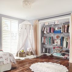 No closet? No problem! SpaceCreations can be installed on almost any wall so you can create a bedroom out of your flex space, bonus room or unused formal living room. #BedroomCloset #HomeStorage #DIY Home Organization, Kids Storage, Wire Shelving, Closet Bedroom, Formal Living Rooms, Interior Design, Closets, House