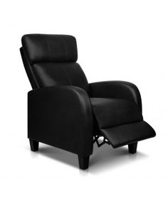 PU Leather Armchair Recliner - Black