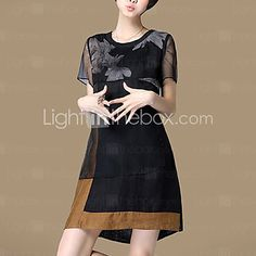 Women's Plus Size / Casual/Daily Street chic Loose Thin Dress,Floral Above Knee Short Sleeve Black Cotton / Linen Summer - USD $19.99 ! HOT Product! A hot product at an incredible low price is now on sale! Come check it out along with other items like this. Get great discounts, earn Rewards and much more each time you shop with us!