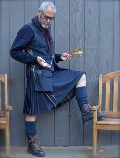 Century kilts, denim and pocket watch Tartan Fashion, Mens Fashion, How To Make Skirt, How To Wear, Modern Kilts, Celtic Clothing, Men Wearing Skirts, Man Skirt, Men In Kilts