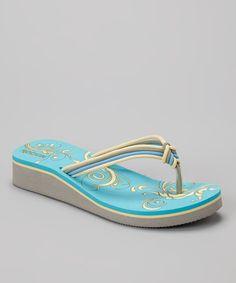 12e3348a7 Rockin Footwear Blue Ribbon Wedge Flip-Flop - Women