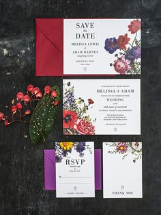 Vintage Botanical Wedding Invitations Printable Set by 3EggsDesign