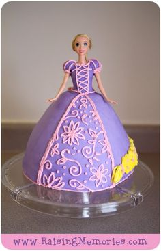 This will be Samantha's birthday cake!! She is going to LOVE it!  Tangled Barbie Cake (with real barbie doll)