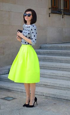 cd072bd62 I love the highlighter green/yellow skirt with the polka dots shirt. With  something this bright, you don't even have to worry about statement  jewelry, ...