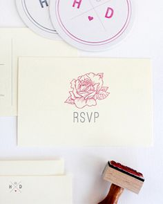 Oh So Beautiful Paper: Danna + Hillary's Classic Floral Wedding Invitations