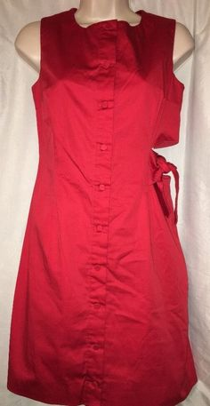 MISHA NONOO Dress Red Shift Size 2 Side Cutout Tie Button Down #MISHANONOO #Shift #Casual