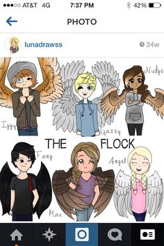 Maximum Ride. OKay. I like this and all. But why are all the guys winking? I can get behind Gazzy and Iggy doing that, cause they're goons, but Fang? No.