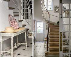 Banquette de piano cannée de style Louis XVI chinée à la brocante d'Uzès et patinée de gris 'Sur un air Gustavien', escalier à volée tournante construit sur voûte sarrasine, miroir œil de bœuf 'Maisons du Monde'