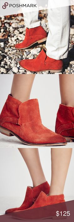 Free People Summit Red Suede Ankle Boots Free People Summit Red Suede Ankle Boots  Vintage inspired distressed suede ankle boots, that have been individually hand washed to achieve a worn-in look and feel. Easy slip-on surplice design. Each pair will vary due to the hand washing technique used. Sold out in stores! Brand new without box. Size 39. Free People Shoes Ankle Boots & Booties