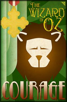 Wizard of Oz Cowardly Lion Deco Poster Design - This art deco inspired poster design featuring the Cowardly Lion from the classic movie, The Wizard of Oz, makes a perfect addition to any fans collection. The word 'Courage' compliments the other four characters designs. Go to WheeDesign.com to collect all 4 main characters including: The Scarecrow, Tin Man, Cowardly Lion and Dorothy. Our Wizard of Oz Cowardly Lion poster design looks great on our T-shirts, hoodies and other gift items too!