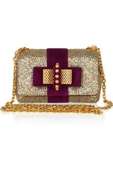 Christian Louboutin|Mini Sweet Charity glitter and suede bag|NET-A-PORTER.COM - StyleSays