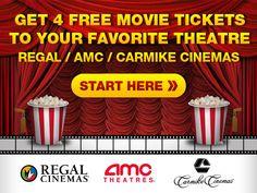 Get 4 Free Movie Tickets  REGAL / AMC / CARMIKE CINEMAS