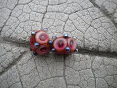 SALE 20 off Poked Dots Pair Lampwork Beads by Cherie by happyskull, $6.80