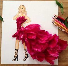 Illustration Blume, Illustration Mode, Arte Fashion, Floral Fashion, Fashion Design Drawings, Fashion Sketches, Dress Drawing, Creative Artwork, Stunning Dresses