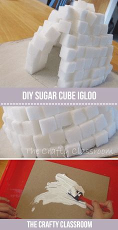 How to make a sugar cube igloo. Igloo crafts and activities for kids. Snow Activities, Fun Activities For Kids, Kindergarten Activities, Preschool Activities, School Projects, Projects For Kids, Crafts For Kids, Winter Fun, Winter Theme