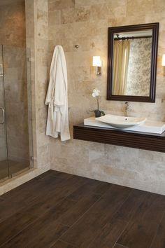 Image result for brown faux wood tile bathroom