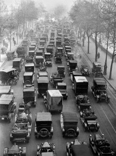 "historium: ""Traffic jam along the Thames Embankment in London during the general strike of 1926. """