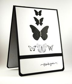 Black and White Classically Elegant Butterfly Handmade Thank You Card | cardsbylibe - Cards on ArtFire