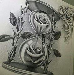 Rose Flowers In Hourglass Chicano Tattoo Design Hai Tattoos, Tatuajes Tattoos, Bild Tattoos, Rose Tattoos, Flower Tattoos, Art Chicano, Chicano Art Tattoos, Tattoos Skull, Body Art Tattoos