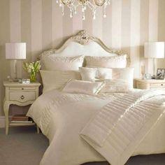 Bedroom color scheme bedroom color schemes for cream cream master bedroom design modern master Luxurious Bedrooms, Home Decor, White Master Bedroom, Stylish Bedroom, Stripe Wallpaper Bedroom, Stylish Bedroom Design, Bedroom Wallpaper Elegant, Bedroom Color Schemes, Bedroom Vintage