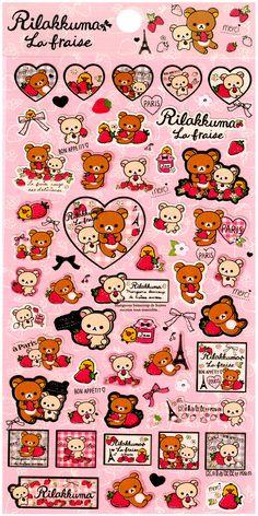 San-x Rilakkuma La Fraise Sticker Sheet: Strawberries