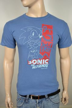 VINTAGE T-SHIRT BLUE GREY SONIC THE HEDGEHOG COTTON SIZE SMALL 38