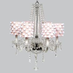 Glass 6 Light Middleton Chandelier with Pink Drum Shades and White Pom Poms. So cute...like cotton candy.