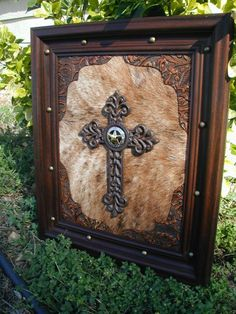 Rustic Wooden Crosses with Cowhide | Cow Hide Tooled Western Leather Framed Cross with Star Concho
