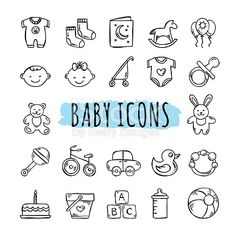 Sketched baby icons vector set. Hand drawn kids symbols: toys, food, clothes