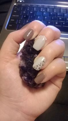 Shellac in Cityscape and Rubble with contrasting dots on accent nail.  Check out my nail art blog! http://nailcaffeine.com/