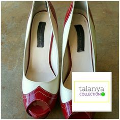 "Steven 'nlight' red white oxford pumps Chic peep toe, two tone leather, 4.5"" heel. lightly worn. Inside has scuffing from removed feet cushion pads Steve Madden Shoes Heels"